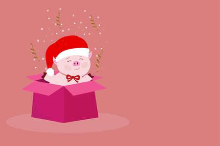 Beautiful pink pig in Santa Claus hat pulls out a gift box with a surprise on a rose background with serpentine and snow for the New Year and Christmas holidays in the winter in December