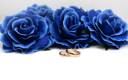 gold wedding rings for newlyweds for a gift on a background of blue roses on a white background Stockfoto