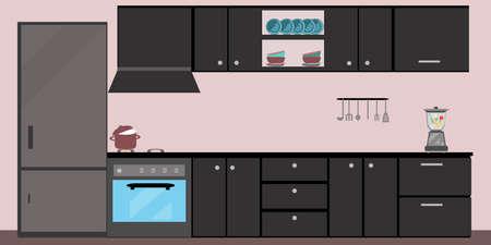 Küche Interieur Essen flache Illustration mit Herd Kühlschrank Tisch und Geschirr auf rosa Hintergrund