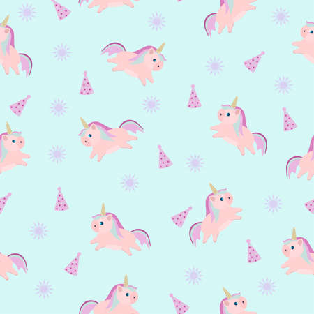 children's pattern for textiles with a unicorn rainbow and a cap for a holiday birthday