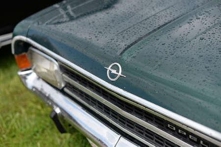 Kiev, Ukraine, May 11, 2019 Retro Car Opel Rekord emblem, old car brand close-up at the retro exhibition