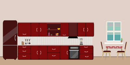 Kitchen red  interior dining flat illustration with blender oven refrigerator table with wood table and chair and window and dishes on pink background