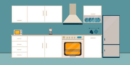 Kitchen white   interior dining flat illustration with microwave  and fringe oven refrigerator table with wood table and on blue  background