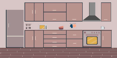 Kitchen interior, dining flat illustration with stove microwave oven refrigerator table and dishes on pink background