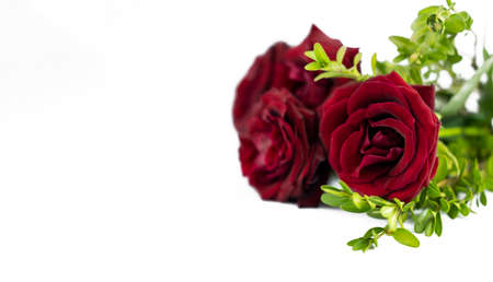 banner with flower bouquet of red roses on isolated white background with copy space for valentines day holiday