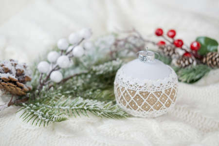 festive greeting card with decor white ball toy for christmas tree decoration with snow for new year and christmas