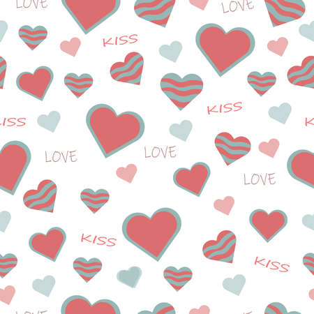 beautiful cute seamless pattern with pink heart shapes with words lettering love and kiss on Valentine's Day holiday for textiles and gift paper