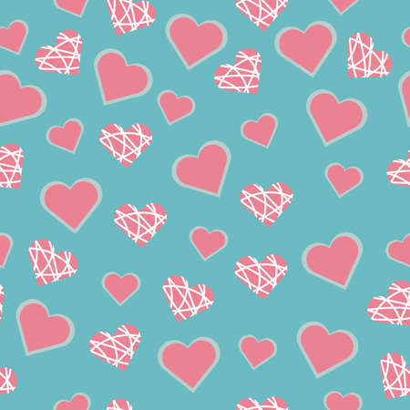 Seamless vector pattern with heart pink shapes for Valentine's Day holiday Stock Illustratie