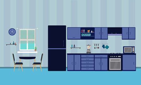 Kitchen blue  interior designe dining flat illustration with blender oven refrigerator table with wood table and chair and window and dishes on a blue background