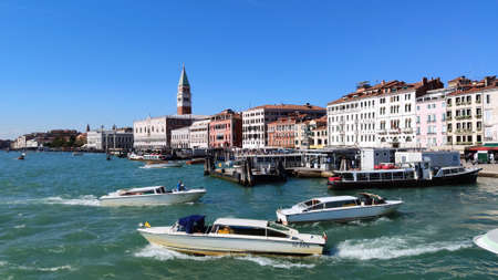 Venice Italy - October 10, 2019. Panorama of a beautiful view of the Grand Canal with houses and  San Marco
