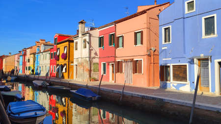 Venice Italy Burano City view island with colorful houses in with boats