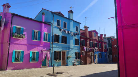 Venice Italy Burano, City view island with colorful houses