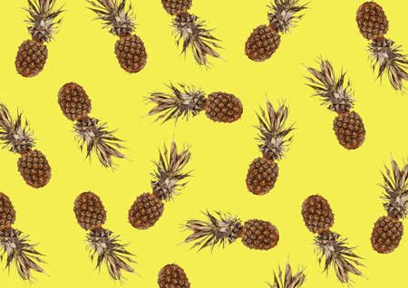tropical pattern with exotic pineapple fruit on a yellow background Stockfoto