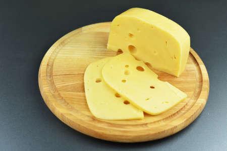 Dutch cheese fresh on a wooden board Stockfoto