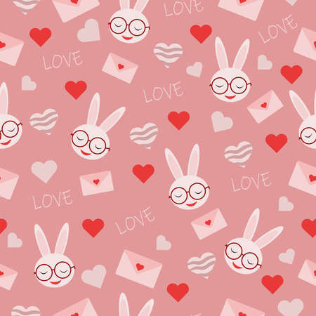 seamless vector pattern with heart shapes pink envelope with rabbit in glasses and inscription love for valentines day holiday