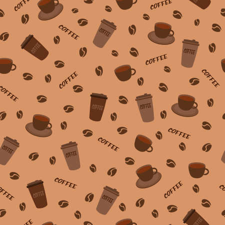 seamless pattern with beverage cup and glass of tea cappuccino coffee with beans for restaurant and textile