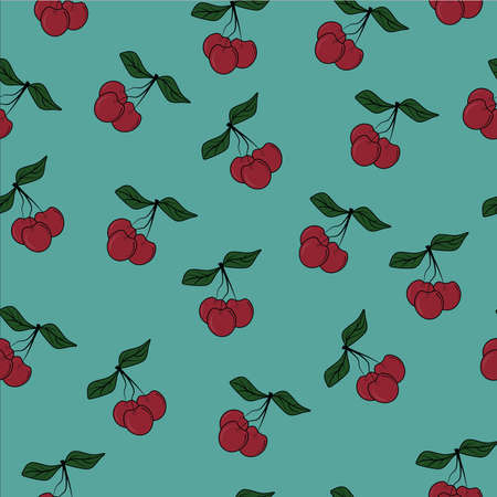 seamless patter with juicy berries, fruits, cherries and textiles Stock Illustratie