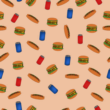 seamless pattern with fast food for a restaurant with a burger and a hot dog and a can of drink