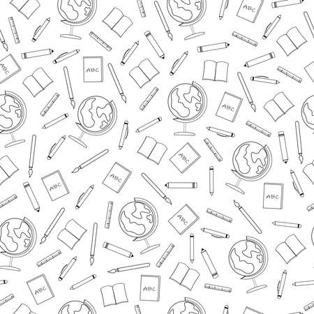 seamless pattern with school tools with books and pencils with ruler and globe for study Stock Illustratie