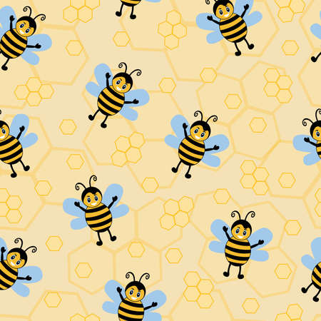 seamless pattern with bee wasp striped yellow insect with honeycombs for textiles