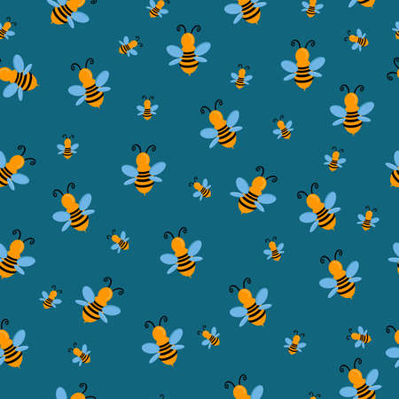 seamless pattern with insect bee wasp striped yellow on a blue background for textiles Stock Illustratie