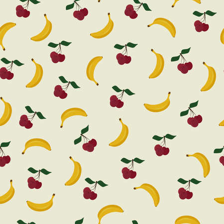 seamless pattern with juicy berries and fruits cherries and banana for textile