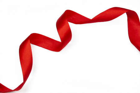 decor festive red ribbon for gift on isolated white background Stockfoto