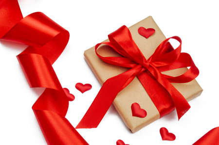 gift box with bow and ribbon red for february valentine's day