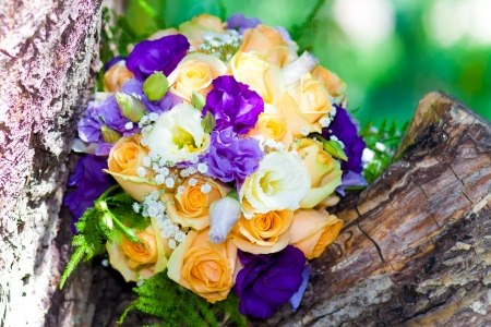 bridal bouquet of beautiful yellow flowers on holiday Stock Photo