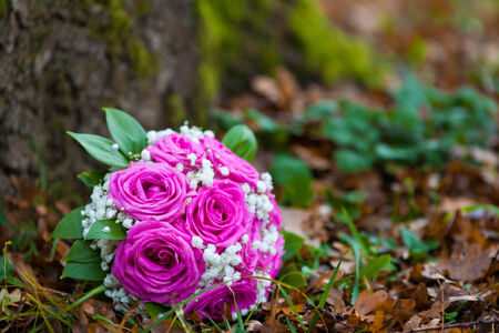 bridal bouquet of beautiful pink flowers on holiday