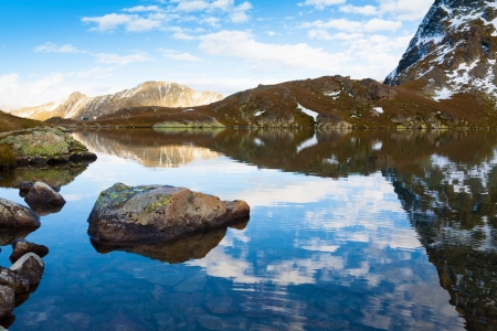 beautiful  lake of the mountain for tourists Stock Photo