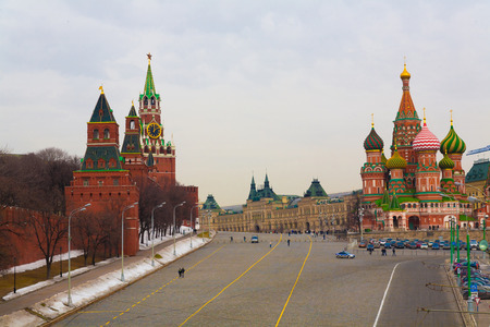 the historic city of Moscow Kremlin and streets Stock Photo