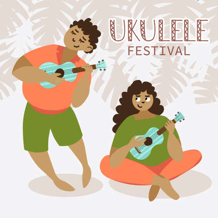 Young man and woman playing hawaiian guitar. Ukulele festival poster. Monstera plant leafs on background.