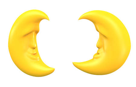 Moon of yellow color on a white background