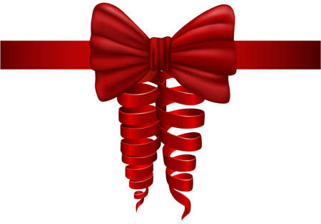 Red bow, satin ribbon for gift