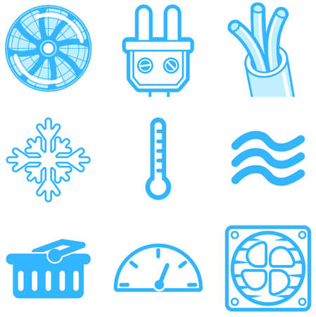 Heating and cooling line icons isolated on white. Ventilation and conditioning vector illustration.