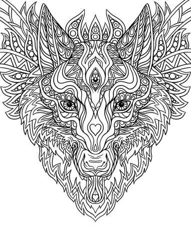 Imprimir para camisetas Doodle Wolf, para colorear doodle