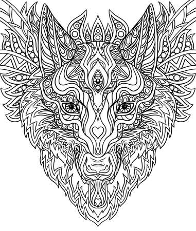 Print for T-shirts Doodle Wolf, for coloring doodle