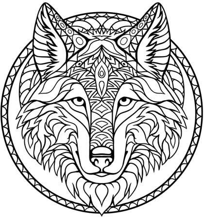 Doodle loup coloriage contour de dessin en vecteur