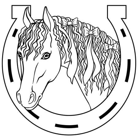 Horse - outline drawing coloring book, good luck charm Illustration