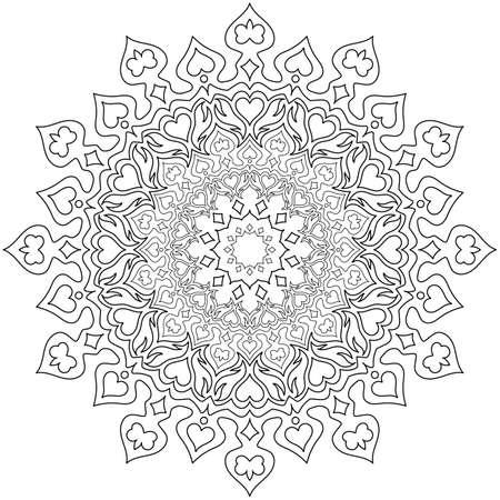 Kreismuster in Form eines Mandalas für Henna, Mehndi, Tätowierung, Dekoration. Dekorative Verzierung im ethnisch orientalischen Stil. Malbuchseite.