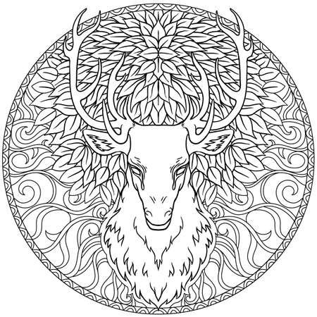 화려한 만다라 위에 아름다운 손으로 그린 부족 스타일의 사슴 머리. 흰색 위에 갈색에서 마법의 빈티지 벡터 일러스트입니다. 영적 예술, 요가, 보헤미안 스타일, 자연과 야생. 티셔츠와 문신. 벡터 (일러스트)