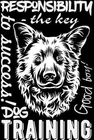 Dog print for t-shirts, embroidery. Embroidery on a black background.