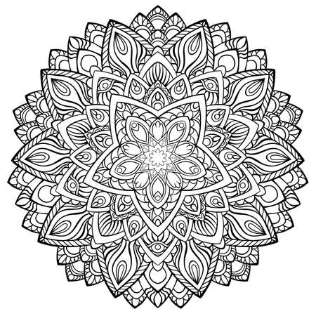 Circular pattern in form of mandala for Henna, Mehndi, tattoo, decoration. Decorative ornament in ethnic oriental style. Coloring book page.  イラスト・ベクター素材