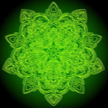 Patrón circular en forma de mandala para Henna, Mehndi, tatuaje, decoración. Adorno decorativo en estilo étnico oriental. Página de libro para colorear.