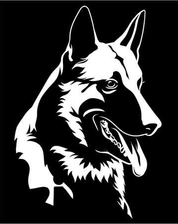 Portrait de chien de berger icône de symbole de chien malinois