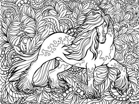Unicorn and flowers. Magical animal. Vector artwork. Black and white, monochrome. Coloring book pages for adults and kids.