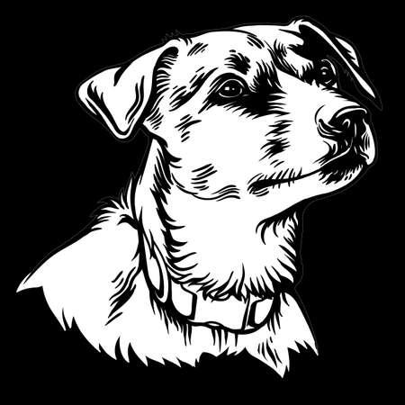 Hund Jack Russell Terrier Vektor-Logo. Veterinärklinik Hund Tiere medizinisches Logo. Bildung, Ausbildung, Tierheimillustration.