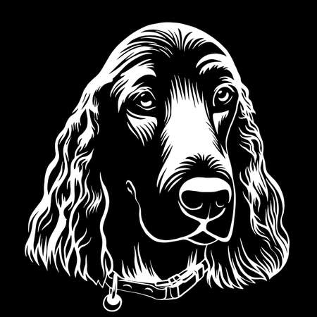 Spaniel dog hand drawn outline stock vector illustration coloring book page on white background