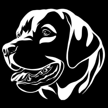 Decorative portrait of dog Labrador Retriever, vector isolated illustration in black color on white background Illusztráció